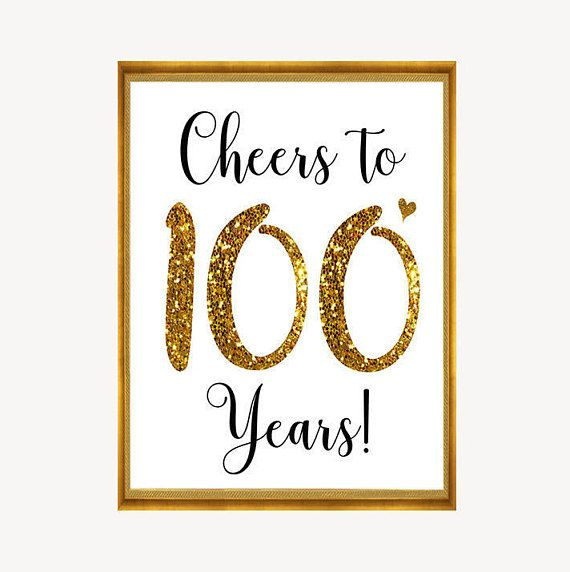 Cheers To 100 Years 100th Birthday Sign 100th Anniversary Etsy In 2021 Birthday Sign Old Birthday Cards Birthday Images