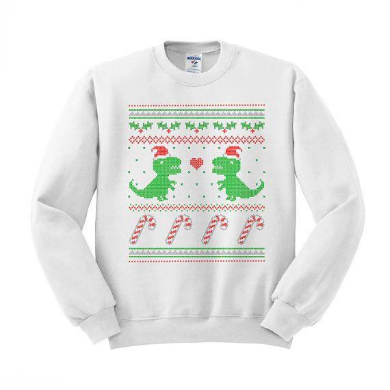 Dinosaurier-Weihnachten-Rundhalspullover, T-Rex Pullover, Zuckerstange Hemd, Holiday Party Pullover, liebe Weihnachten, einzigartige Weihnachts-Shirt