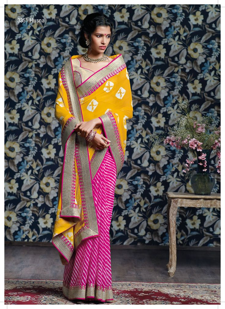 Leheriya & shibori prints are combining with spectacular yellow- pink colors, heavy sequence jari work border & fabulous golden brocade blouse.
