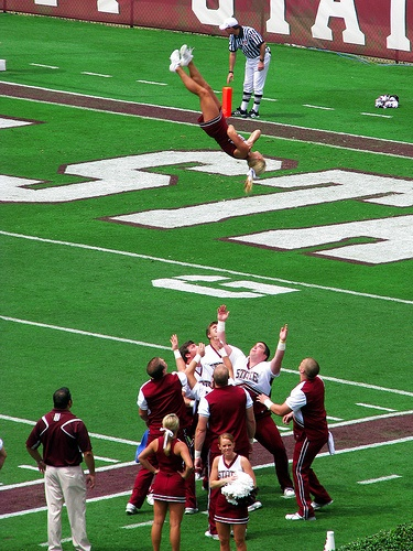 The sky is the limit by Roger Smith, via Flickr A Mississippi State University cheerleader flying high over Scott Field during the 2009 opening game against Jackson State University.