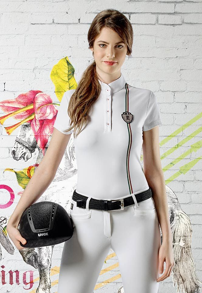 Polo donna Equiline H00625 Mandy con tricolore.   Supernatural Style