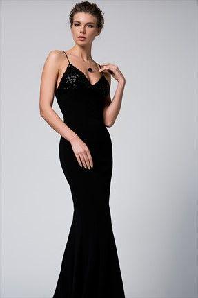 Payetli Siyah Elbise