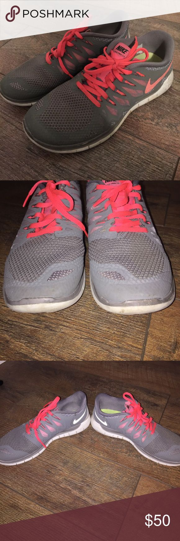 Nike Free 5.0 Tennis Shoes Gray and Pink Nike Free 5.0! Slightly worn, but overall great condition. Very comfortable, clean! Nike Shoes Sneakers