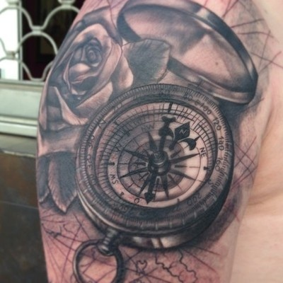 Compass rose half sleeve by Jose Gonzalez at Ink-in Tattoo ... Antique Compass Rose Tattoo