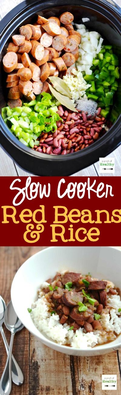Red Beans and Rice in the Slow Cooker - delicious and EASY recipe! Dinner practically prepares itself. And NO pre-soaking the beans. | APinchOfHealthy.com