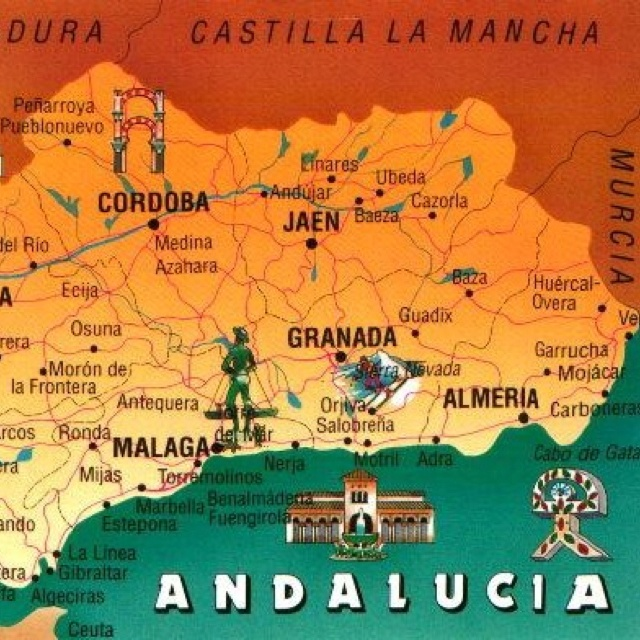 Map Of Spain Flew Into Madrid Then Barcelona Granada And - Map of andalusia