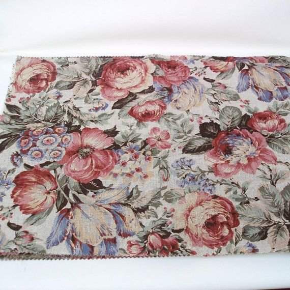 Pink Floral Fabric Panels Upholstery Fabric Large by WhimzyThyme, $34.95