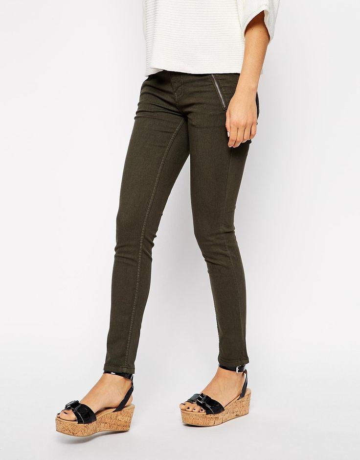 Topshop shell top, asos Oasis Zip Hem Jean in khaki, Asos wedge sandals