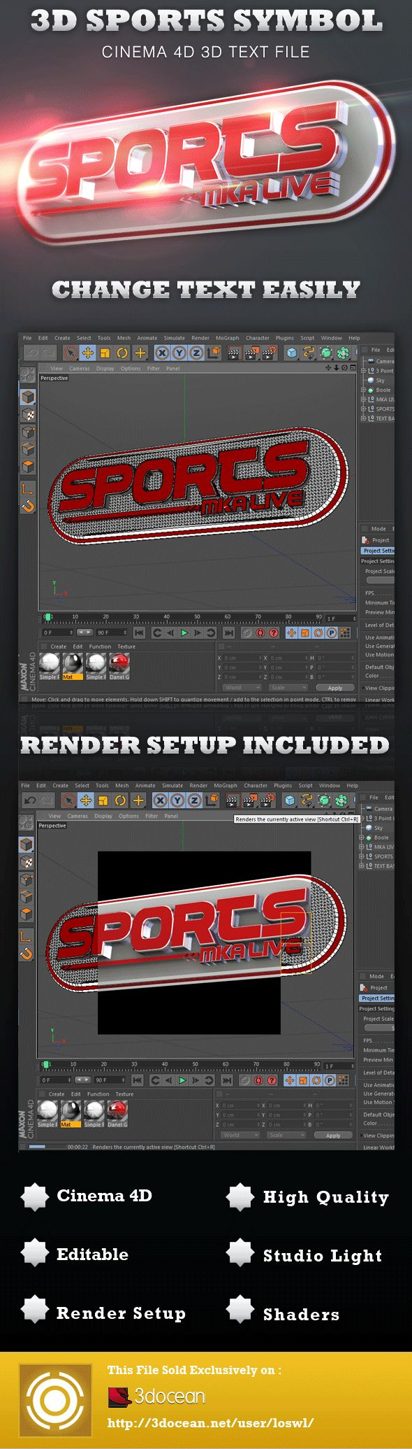 This 3D Sports Symbol Cinema 4D File is sold exclusively on 3DOcean, it can be used for Animations and Print Projects including Posters, Event Flyers, etc. In this package you'll find 1 Cinema 4D Project File. The file includes shaders and light setup for rendering, all objects are grouped and named for easy editing. - $4.00