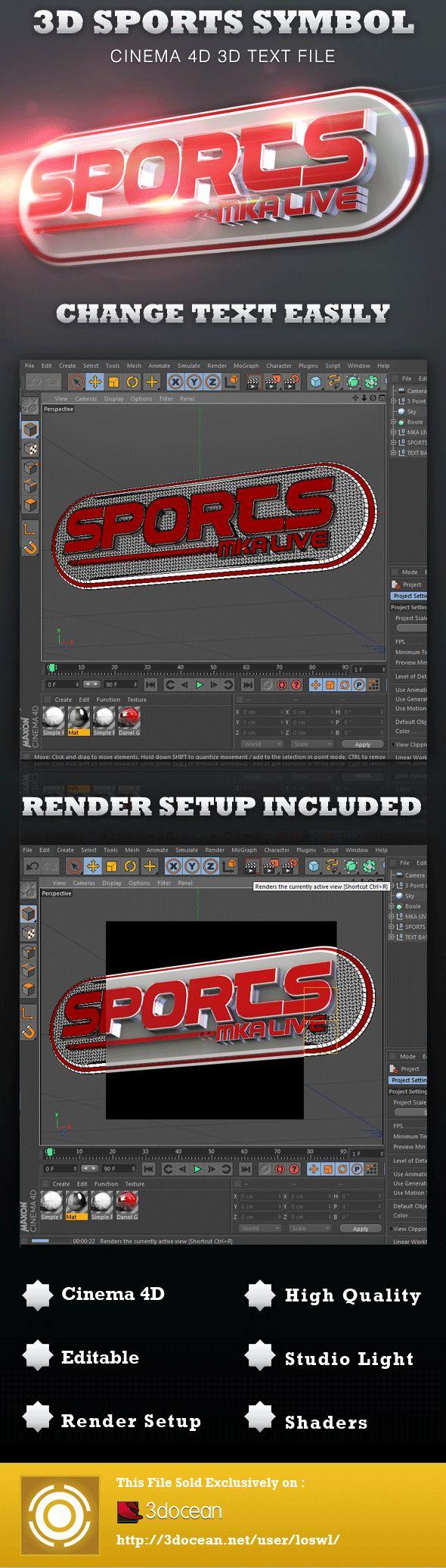 3D Sports Symbol Cinema 4D File