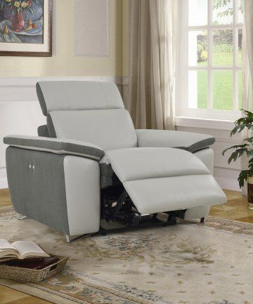 Enjoy sophisticated comfort and style with the Aura Light Grey Top Grain Leather Power Recliner by Levoluxe. Featuring a sturdy wood frame with individually pocketed coil spring seating support, and lavish upholstery in light grey natural top grain semi-aniline leather with rich two-tone contrasting dark grey linen accenting. Adjust each headrest and footrest support and relax in an ambiance of refined modern elegance.