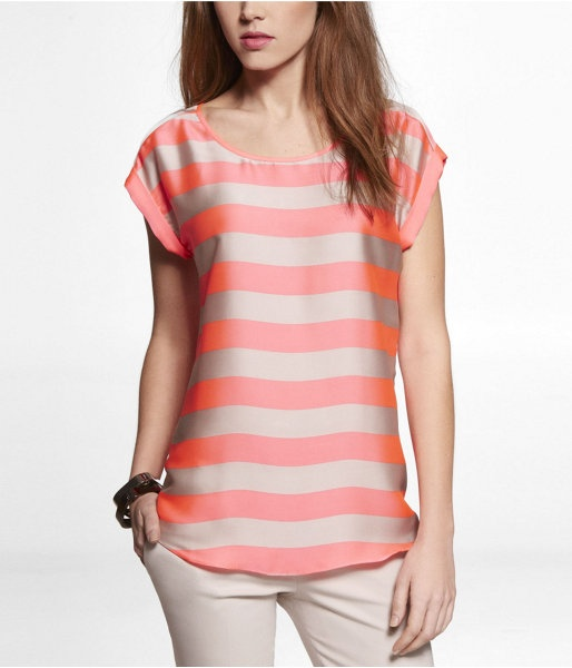 Express Womens Neon Striped Rolled Sleeve Zip Back Tee Pink, Medium