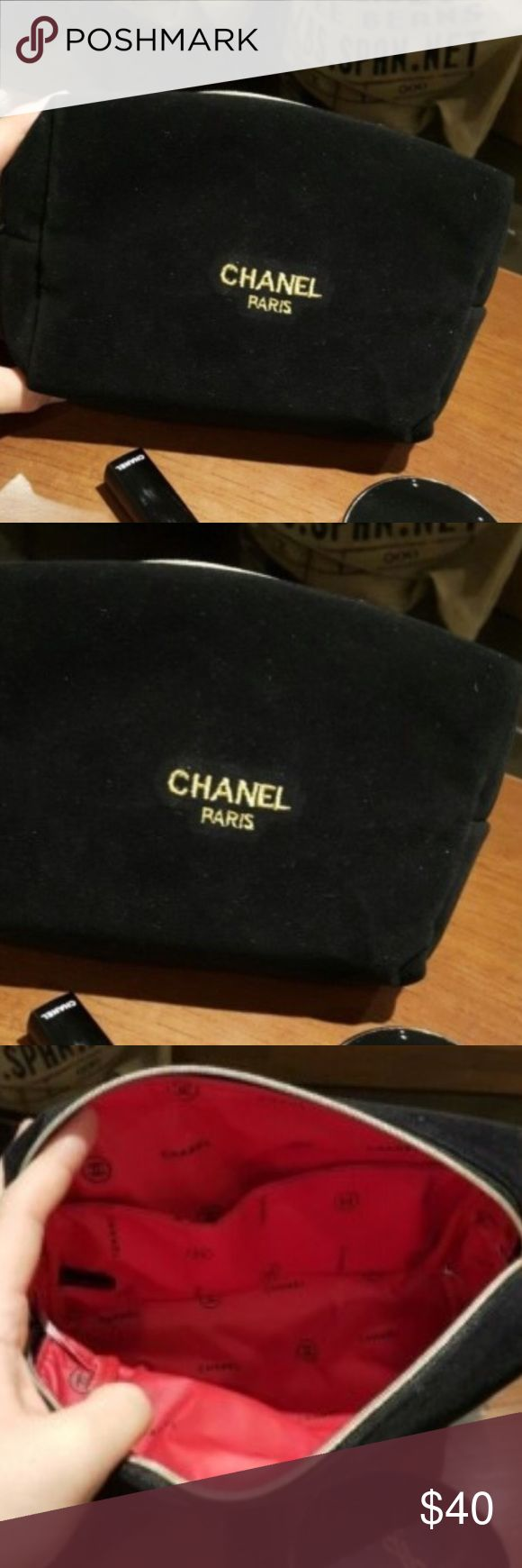Chanel Beauty black velvet Cosmetic Makeup pouch Chanel Beauty velvet Cosmetic Makeup Bags pouch VIP Gift NEW                   Delivery up to 15-20       ❤️bundle discount❤️ Makeup Brushes & Tools
