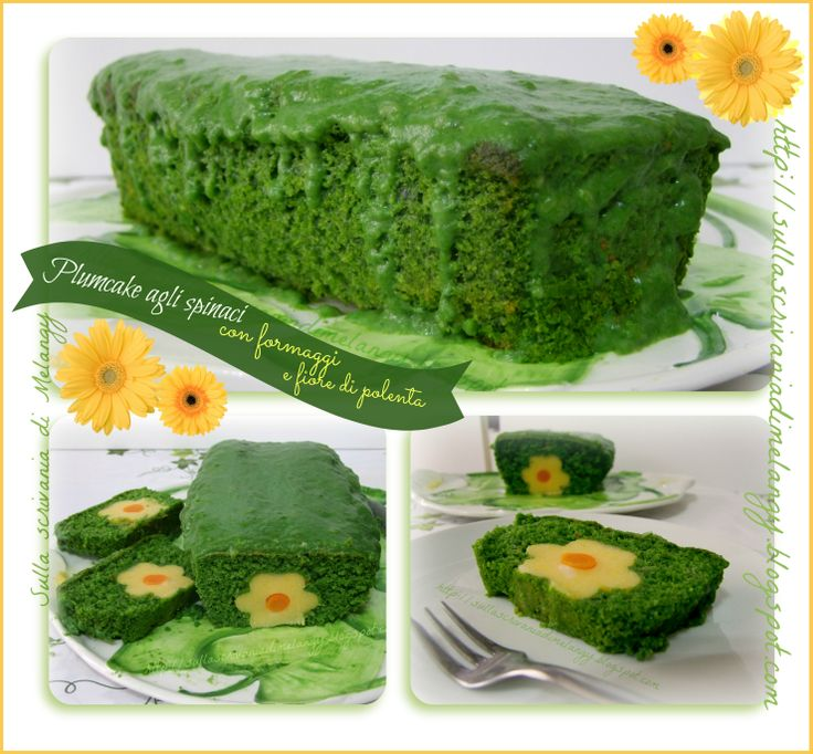 Plumcake agli spinaci con formaggi e fiore di polenta ❁