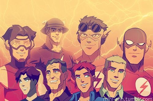 Impulse/Bart Allen, Speedster/Jay Garrick, Kid Flash/Wally West, Flash/Barry Allen