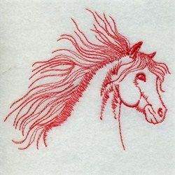 Premium Embroidery Embroidery Design: Redwork Horse 2.52 inches H x 2.90 inches W