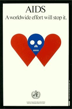 milton glaser: the world health organization's  international AIDS symbol and poster, 1987.