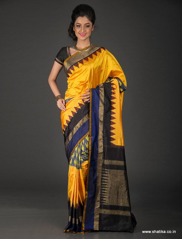 A color that's desperately hot and design that's unequivocally cool, Kavita Turmeric Yellow Temple Bordered Pure Patola Silk Saree strikes the right cord. A quintessential creation of Shanti Devi Salvi of Patan, Gujarat, this double ikat Patola saree can be easily pass off as your perfect pick for board room as well as ball room.