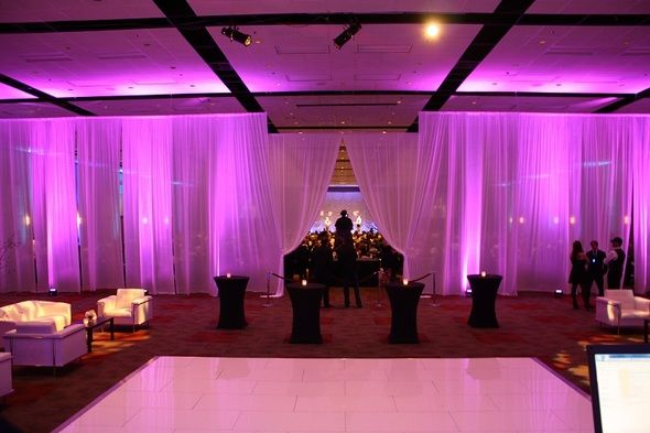 These uplights are gorgeous with the drapes! This was a beautiful event! Sound Wave Events - www.soundwaveevents.com - Boise DJ - Boise Weddings - Lighting Design
