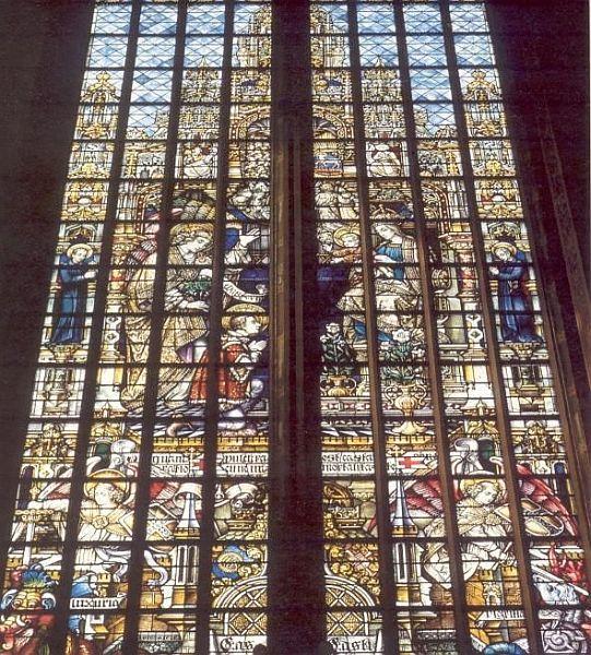 1902. Glasschilderkunst door Otto Mengelberg. Nederland, Amsterdam, Krijtberg. Aloysius, knielend voor madonnabeeld, legt (op 9-jarige leeftijd) de gelofte van zuiverheid af.