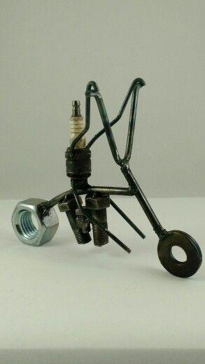 Mean chopper metal figurine.