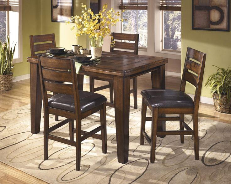Lairecmont Casual Burnished Dark Brown Color Counter Butterfly Table Set 4 Barstools