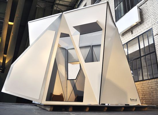 'fold flat shelter' was created by german designer adrian lippmann, founder interior design  firm form-al. these tent like structures are unsupported mini-houses made of light composite  panels to be used as disaster relief shelters. developed with only a few elements, each panel  comes in relatively small dimensions resulting in a compact building design.