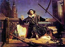 "Nicolaus Copernicus ""talking with God"", who reveals to him the truth about the solar system. Painting by Jan Matejko."