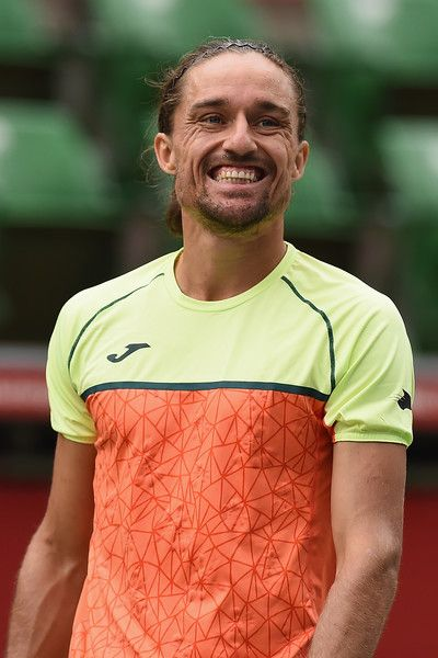 Alexandr Dolgopolov of Ukraine smiles in his match against Daniil Medvedev of Russia during day three of the Rakuten Open at Ariake Coliseum on October 4, 2017 in Tokyo, Japan.