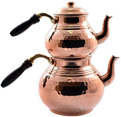 *New* CopperBul Handmade Solid Thick Hammered Copper Turkish Teapot with Wooden Handle,2.8 qt