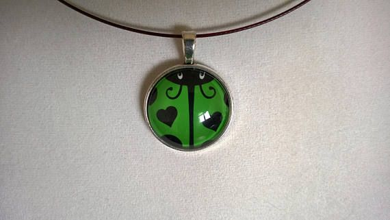 Ladybug glass  cabochon pendant necklace girl gift glass