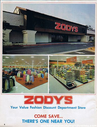 Zodys was a chain of discount retail stores that operated from 1960 to 1986. The first store in this Southern California–based discount chain opened June 13, 1960, in Garden Grove, California. By 1969, there were nineteen stores.
