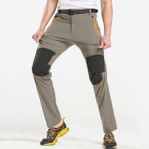 Summer Ooutdoor elástico de secado rápido pantalones Mens Splicing Color Sun-prueba de escalada de senderismo pantalones en Banggood