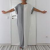 Одежда ручной работы. Ярмарка Мастеров - ручная работа Бело-серое длинное макси платье, кафтан, абайя, ручная работа. Handmade.