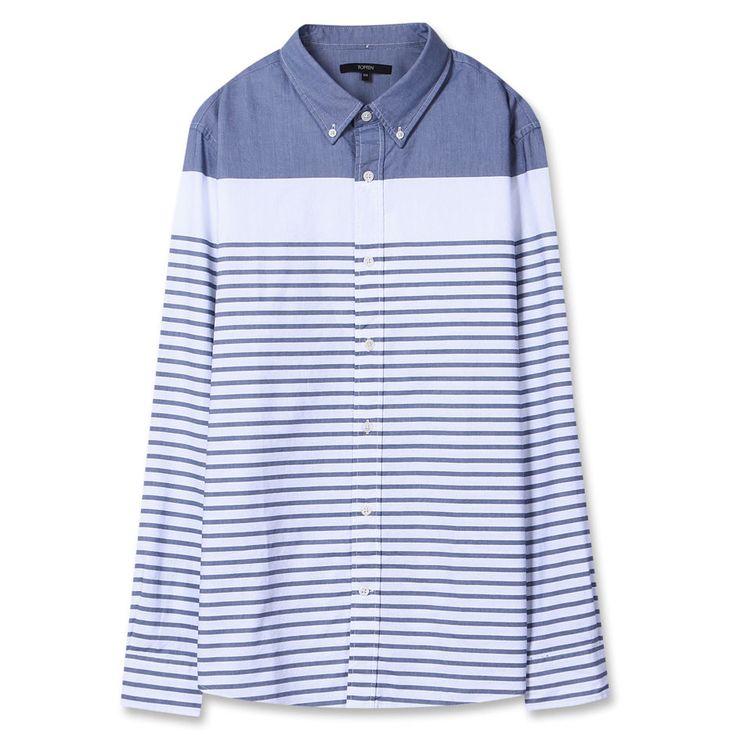 Topten10 Unisex Unique Dark Blue Striped Oxford Buttondown Cotton Dress Shirts #Topten10