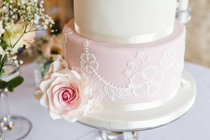 Hand piped Brush Embroidery Wedding Cake