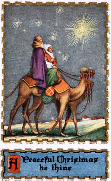 São três os magos do Natal, antigos cartões postais no Dia de Reis