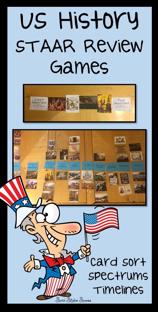 Don't wait for the US History STAAR test in May – start preparing your students now with the Eras of US History Review Activities. This activity bundle is designed to help your students review for an end of the year assessment – like the STAAR for 8th Grade US History. As students are taking the test, they are required to place many questions into historical context. These activities are designed to prepare your students for that task with a variety of different review strategies.