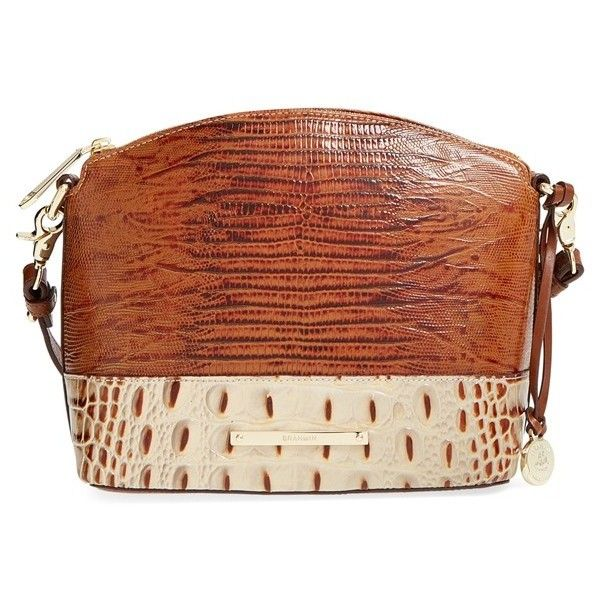 Brahmin 'Mini Duxbury' Croc Embossed Leather Crossbody Bag ($225) ❤ liked on Polyvore featuring bags, handbags, shoulder bags, brulee, mini crossbody, leather handbags, brown leather shoulder bag, leather purse and brown leather purse