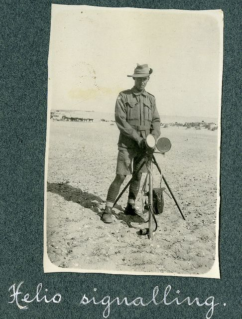 WW1. Heliograph signalling, Australian Light Horse, Middle East.