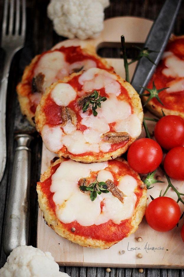 Mini pizza de conopida cu cascaval si ansoa