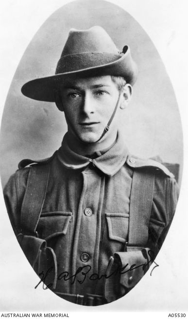 Private H. A. Barker, 7th Battalion, AIF. As Lance Corporal Barker He was awarded a DCM for Conspicuous Gallantry, ability and resource on 1915-04-25 and 26, near Gaba Tepe, Dardanelles during the Gallipoli Campaign. A05530