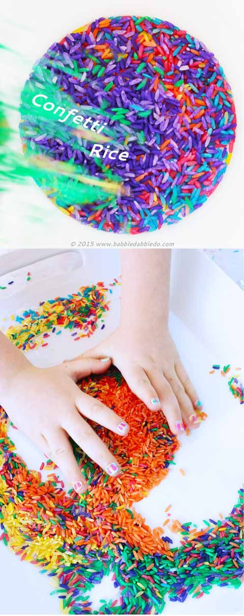 """Sensory Play Ideas: Make Confetti Rice inspired by the """"150+ Screen-Free Activities for Kids"""" book from Fun At Home With Kids"""