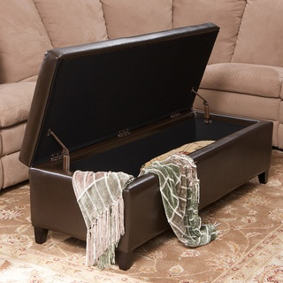 Christopher Knight Home York Bonded Leather Brown Storage Ottoman Bench | Overstock.com