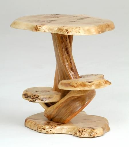 Juniper and Burl Wood Three Tier End Table  Juniper and Burl Wood Three Tier End Table Item #ET06967 20″ to 26″ Diameter x Desired Height – $895 Wood Species May Vary Based on Availability Custom Sizes Available