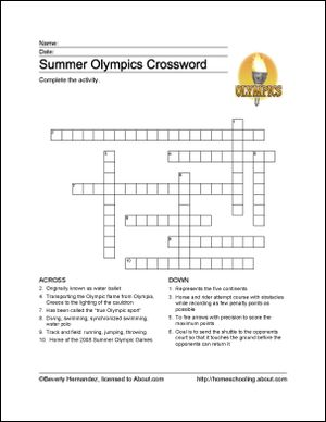 Summer Olympics Printables: Summer Olympics Crossword Puzzle