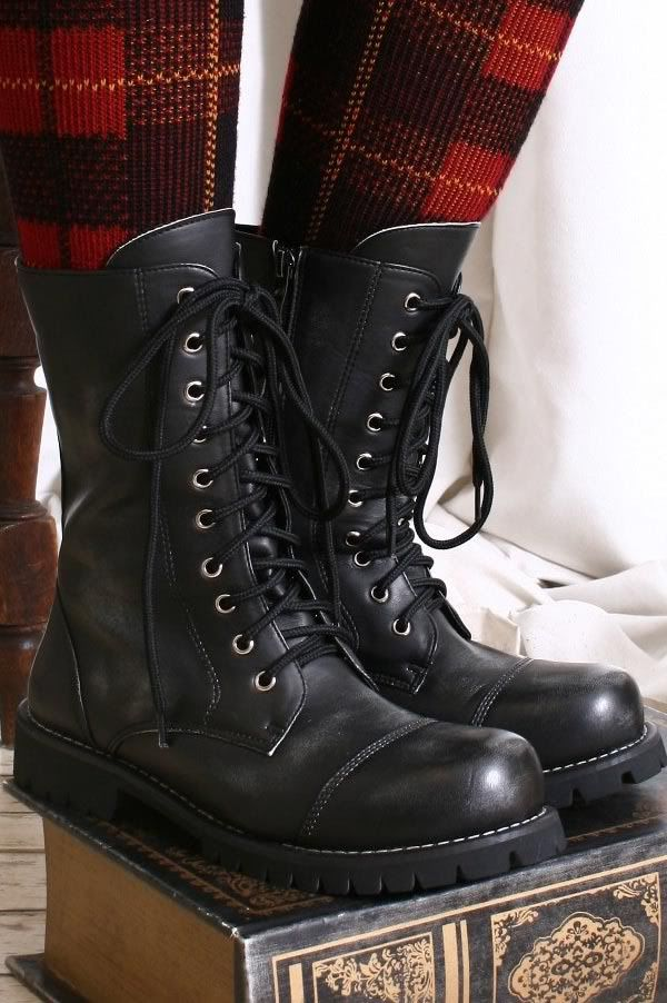 vegan leather punk boots | ... Vegan Faux Leather Punk Rock Mortorcycle Biker Engineer Boots Unisex