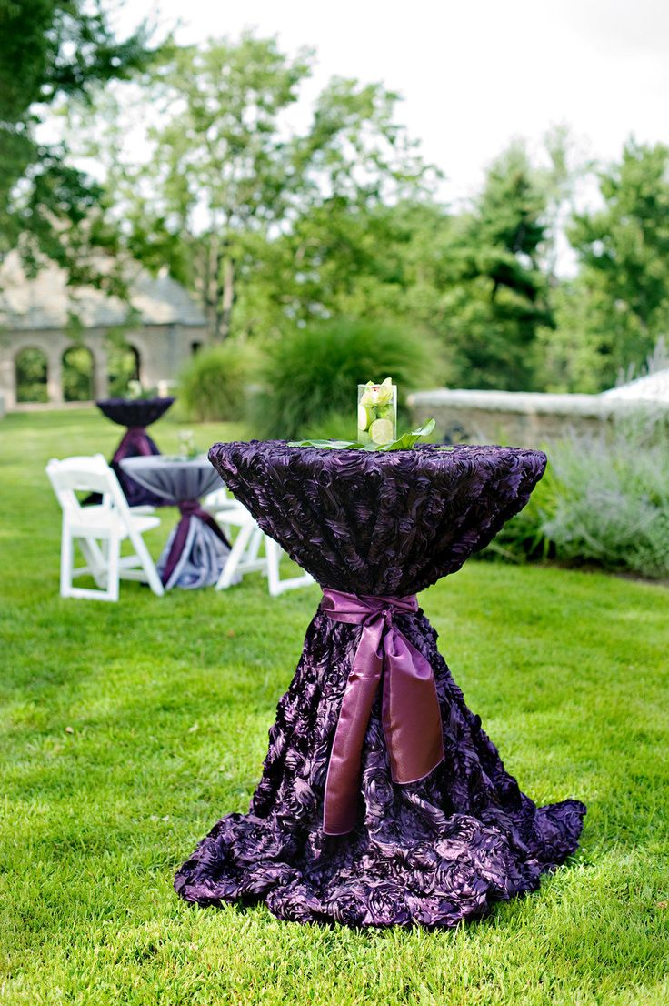 Purple Rosette Linen For High Tables. Photography By Kortneekate.com