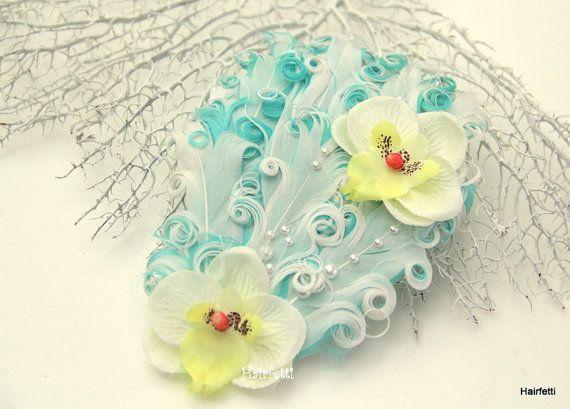Orchids & Pearls Hawaiian luau hair clip pin up girl by Hairfetti