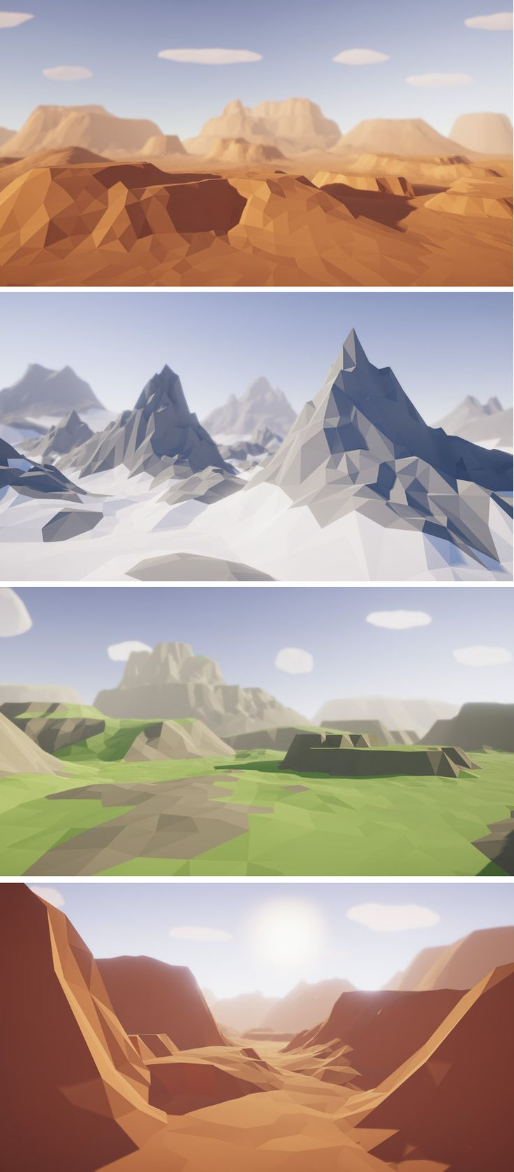Low Poly Modular Terrain Pack This package contains a huge variety of different modular terrains and mountains ready to use for your game to create unique landscapes. Just drag and drop prefabs to your scene and achieve beautiful results in no time. PC & mobile friendly assets.